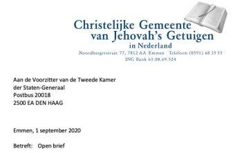 Brief Jehova Getuigen Tweede Kamer